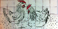 Donns McGee Chickens Tile Mural